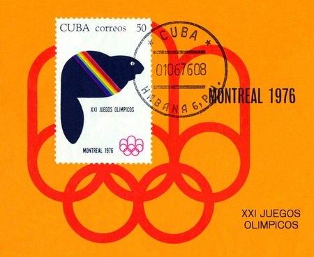 canada stamp: CUBA - CIRCA 1976: a stamp printed Cuba, shows  beaver - symbol Summer Olimpics, Montreal, Canada, circa 1976 Editorial