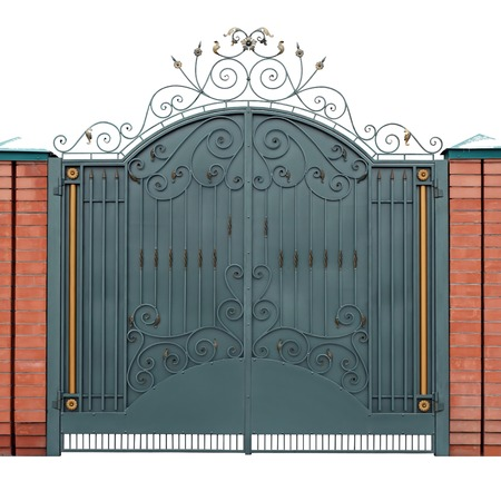 barrier gate: Modern forged gates with overlaid ornaments.  Isolated over white background.