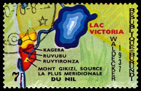 burundi: BURUNDI - CIRCA 1970 : A stamp printed by Burundi shows Animals Burundi, Animals Burundi, Lac Victoria, map Burundi, circa 1970.