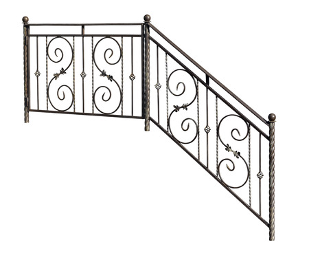Modern decorative  banisters, railing. Isolated over white background. photo