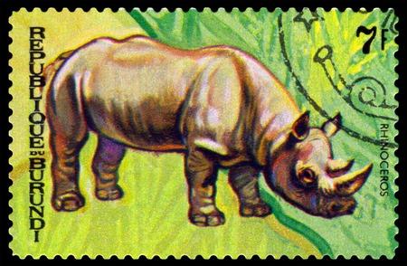 burundi: BURUNDI - CIRCA 1970 : A stamp printed by Burundi shows Animals Burundi, Rhinoseros, map Burundi, circa 1970. Editorial