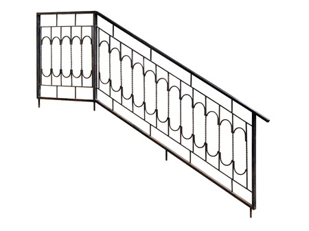 banisters: Modern  banisters, railing. Isolated over white background. Stock Photo