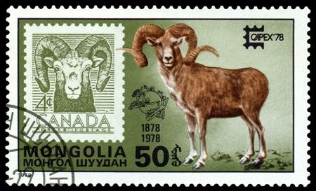 canada stamp: MONGOLIA - CIRCA 1978: A Stamp shows image  Capex Emblem, Eurasian Beaver  and Canada,  series Capex Emblem, circa 1978
