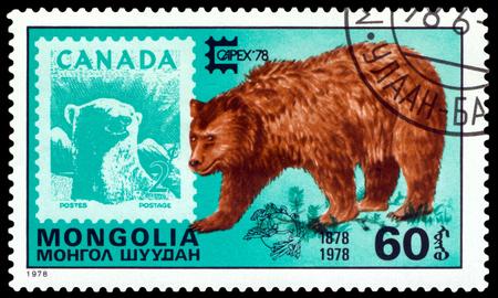 canada stamp: MONGOLIA - CIRCA 1978: A Stamp shows image  Capex Emblem,  Eurasian  Brown Bear  and Canada,  series Capex Emblem, circa 1978