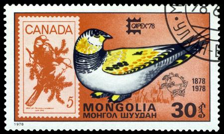 canada stamp: MONGOLIA - CIRCA 1978: A Stamp shows image  Capex Emblem, Tibetan sand grouse  and Canada,  series Capex Emblem, circa 1978