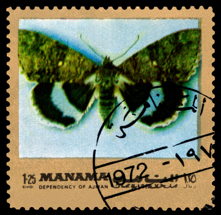 catocala: AJMAN - CIRCA 1972: A stamp printed in Ajman shows butterfly  Catocala fraximi, circa 1972.