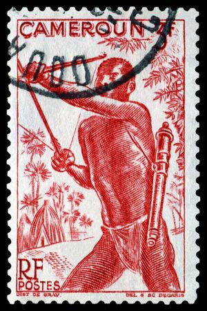 bowman: CAMEROUN - CIRCA 1946: a stamp printed by  Cameroun, shows portrait of Bowman, circa 1946
