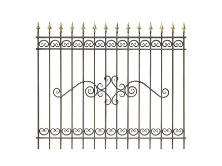 Decorative fence for the park, garden and at home. Isolated over white background. Stock Photo
