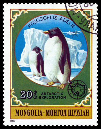 MONGOLIA - CIRCA 1980: a stamp printed by Mongolia  shows  Penguins,  Antarctic Animals and exploration,  circa 1980 Editorial