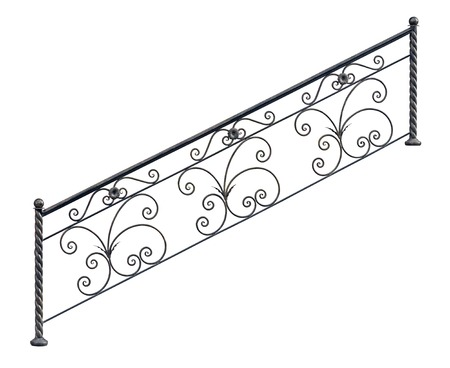 Modern decorative  railing staircase steps. Isolated over white background. photo