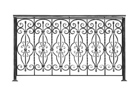 banisters: Decorative, forged  banisters, fence  in old  stiletto. Isolated over white background. Stock Photo