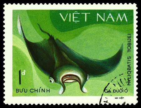 philately: VIETNAM - CIRCA 1980: A stamp printed in Vietnam, shows  Myliobatis Tobijei, circa 1980 Editorial