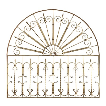 lattice window: Decorative forged grid  in old  stiletto. Isolated over white background.