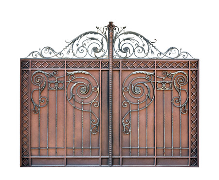 barrier gate: Modern steel decorative  gates.  Isolated over white background.