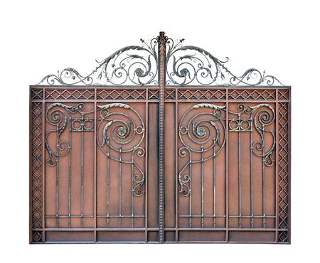 Modern steel decorative  gates.  Isolated over white background. photo
