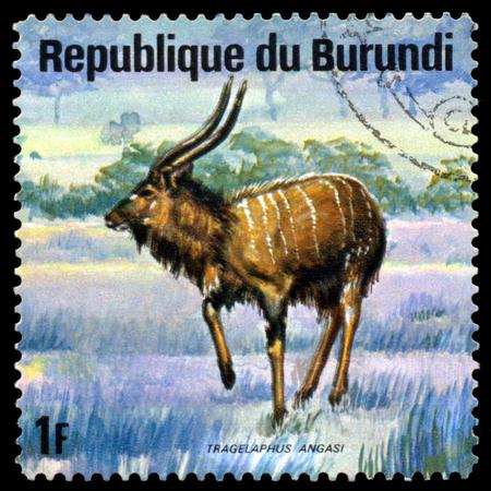 burundi: BURUNDI - CIRCA 1975: A stamp printed by Burundi shows Roan Antelope, Animals Burundi, circa 1975. Editorial