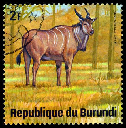 BURUNDI - CIRCA 1975: A stamp printed by Burundi shows Addax, Animals Burundi, circa 1975.