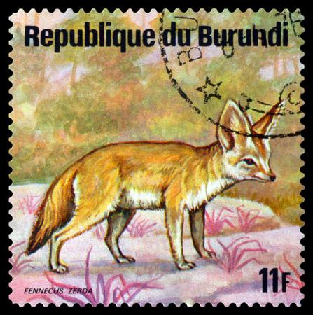 BURUNDI - CIRCA 1975: A stamp printed by Burundi shows Fennec, Animals Burundi, circa 1975. Sajtókép