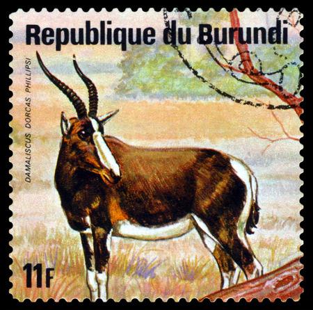 BURUNDI - CIRCA 1975: A stamp printed by Burundi shows  White-fronted hartebeest (D. phillipsi), Animals Burundi, circa 1975.