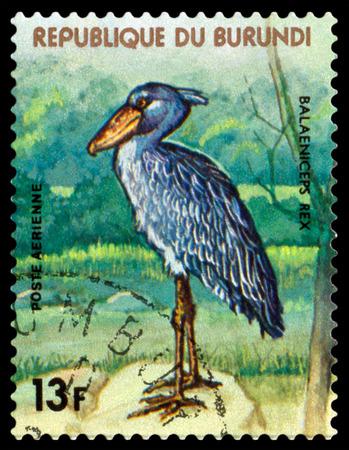 burundi: BURUNDI - CIRCA 1977: A stamp printed by Burundi shows bird  Royal heron , Animals Burundi, circa 1977. Editorial