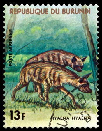 burundi: BURUNDI CIRCA 1977: A stamp printed by Burundi shows predator Hyena Animals Burundi circa 1977.
