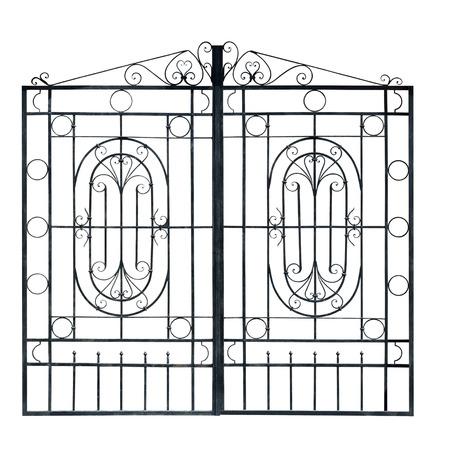 puertas de hierro: Luz Antiguo forj� puertas decorativas. Aislado sobre fondo blanco. Foto de archivo