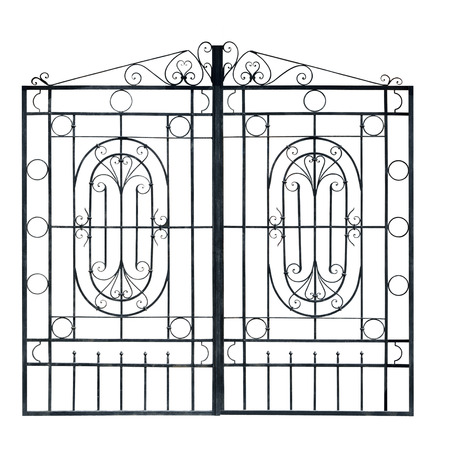 metal grid: Old  light  forged  decorative gates.  Isolated over white background. Stock Photo
