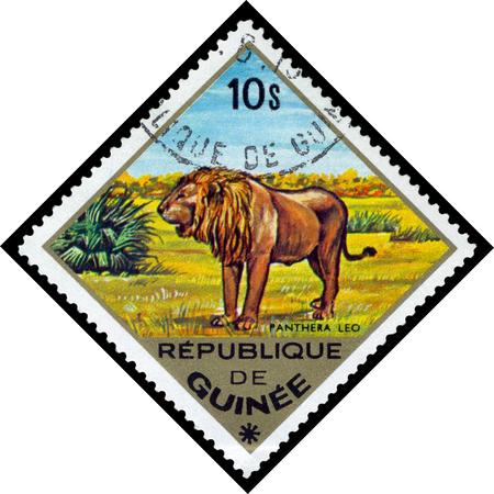 guinee: REPUBLIQUE DE GUINEE CIRCA 1976: a stamp printed by Republique de Guinee shows Pantera Leo Lion series animals Africa circa 1976