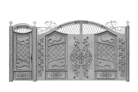 Forged  decorative  gates  for manor. Isolated over white background.
