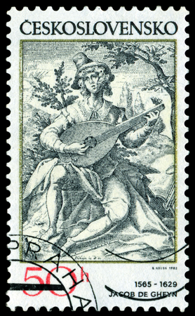 overprint: CZECHOSLOVAKIA - May. 18. 1982. A stamp printed by Czechoslovakia shows Lute Player, by Jakob de Gheyn.