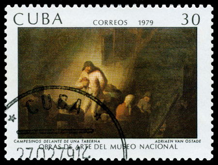 CUBA - CIRCA 1979: a stamp printed by Cuba  shows a picture Peasants in Front of a Tavern, by Adriaen van Ostade,  Paintings in the National Museum of Art,  circa 1979