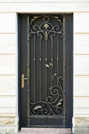 irons: Decorative, elegance, wrought door in old stiletto.