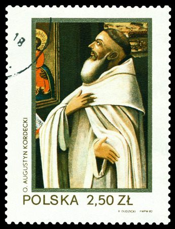 theologian: POLAND - CIRCA 1982: a stamp printed by Poland shows portrait Father Augustin Kordecki 1603 - 1673 - great christian philosopher and theologian, circa 1982