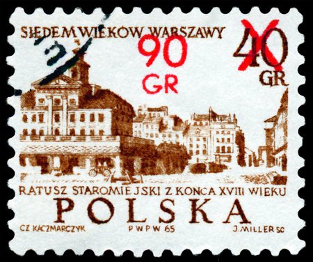 old town hall: POLAND - CIRCA 1965: a stamp printed by Poland shows Old Town Hall, 18th century. Seven centuries Warsaw, circa 1965
