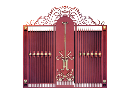 Modern  steel   decorative  gates.  Isolated over white background.