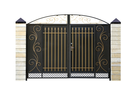 Wrought,  iron  Gate. Isolated over white background.