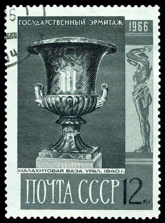 malachite: RUSSIA -CIRCA 1966: a stamp printed by Russia shows  image  Malachite vase Ural. 1840. Hermitage Museum, series, circa 1966 Stock Photo