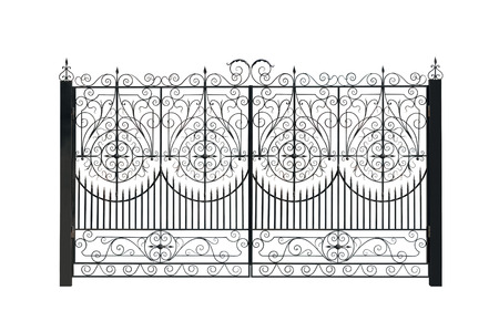 Openwork gate. Isolated over white background.