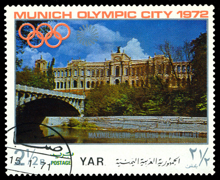 sights: YEMEN - CIRCA 1972: a stamp printed by Yemen shows  sights of Munich, Olympic games in Munich,  Germany, circa 1972 Editorial