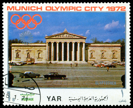 sights: YEMEN - CIRCA 1972: a stamp printed by Yemen shows  sights of Munich, Gliptothek, Olympic games in Munich,  Germany, circa 1972