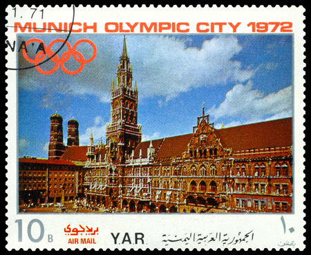 sights: YEMEN - CIRCA 1972: a stamp printed by Yemen shows  sights of Munich, City  Hall, Olympic games in Munich,  Germany, circa 1972 Editorial