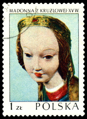 xv century: POLAND - CIRCA 1975: A stamp printed in POLAND shows  image sculpture of the Madonna XV century, from series, circa 1975