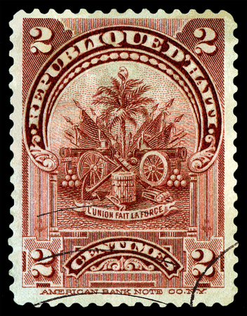 dedicated: HAITI - CIRCA 1914: A stamp printed in Haiti, dedicated for the  union fait la force, circa 1914. Editorial