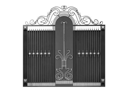Modern  iron  decorative  gates.  Isolated over white background. Stock Photo