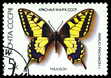 red book: USSR - CIRCA 1987: A stamp printed in Ussr shows a butterfly Papilio machaon, with the inscription  The Red Book of the USSR, from the series Butterfly, circa 1987.