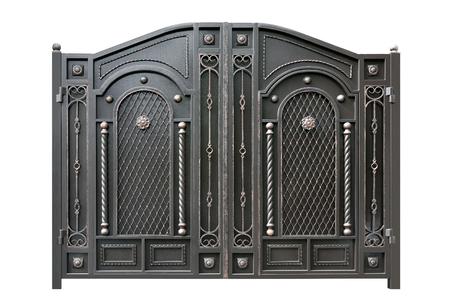 Puerta de metal con el ornamento. Aislado sobre fondo blanco. Foto de archivo