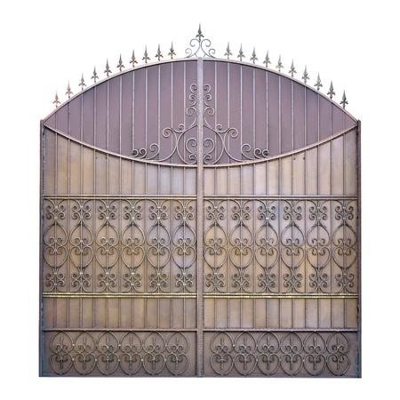 puertas de hierro: Decorativo puertas de hierro forjado. Aislado sobre fondo blanco.