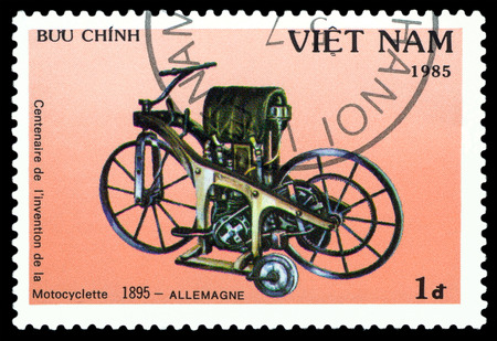 centenary: VIETNAM - CIRCA 1975 : a stamp printed in Vietnam, shows an old motorcycle Germany 1895,  stamp devoted to the centenary of the invention of motorcycle , cirka 1985