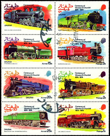 churchill: DHUFAR - CIRCA 1974: A Stamp printed in the  Dhufar  shows  Old steam locomotive, stamps devoted to the   Centenary of Winston S. Churchill  (1874 - 1974), circa 1974 Editorial
