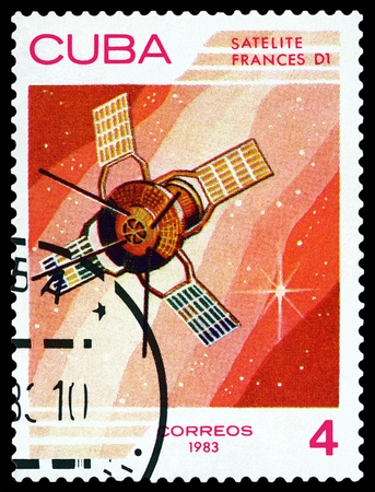d1: CUBA - CIRCA 1983: A stamp printed in Cuba shows Satellite Frances D1 , the study of near-Earth space , circa 1983